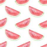 S?ml?s bakgrund med vattenmelonskivor Den ljusa vattenfärgen skissar av vattenmelon Mallbakgrund och inpackningspapper, vektor illustrationer
