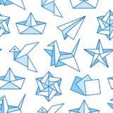 S?ml?s modell f?r origami med den plana linjen symboler Pappers- kranar, f?gel, fartyg, illustrationer f?r plan vektor f?rgad bak stock illustrationer
