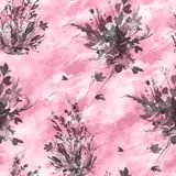 S?ml?s modell f?r vattenf?rgtappning, blom- modell, rosa f?rg, rosor, vallmo, knoppar V?xter blommor, gr?s i blom- l?st gr?s stock illustrationer