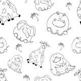 S?ml?s modell f?r vektor med hand-drog roliga gulliga feta djur Konturer av djur p? en vit bakgrund Rolig textur med royaltyfri illustrationer