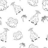 S?ml?s modell f?r vektor med hand-drog roliga gulliga feta djur Konturer av djur p? en vit bakgrund Rolig textur med vektor illustrationer