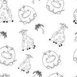 S?ml?s modell f?r vektor med hand-drog roliga gulliga feta djur Konturer av djur p? en vit bakgrund Rolig textur med stock illustrationer