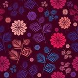 S?ml?s modell med blom- och sidor med mycket h?rliga f?rger S?ml?s modellbakgrund med blom- sommar och sidor royaltyfri illustrationer