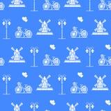 S?ml?s modell med v?derkvarnen, cykel, lykta stock illustrationer