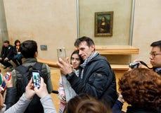 ` S Mona Лиза Леонардо Да Винчи на жалюзи Museumn Стоковая Фотография