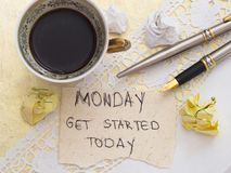 It`s Monday concept. With cup of coffee, top view royalty free stock photos