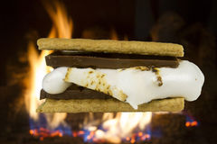 S'more in Front of Campfire Stock Images