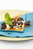S'more on plate with chocolate and marshmellows Stock Photography