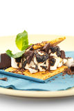 S'more on plate with chocolate and marshmellows Stock Image