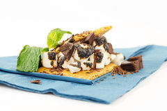 S'more on plate with chocolate and marshmellows Royalty Free Stock Photography