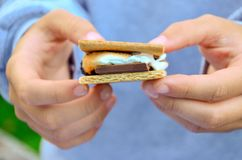 S`mores with chocolate, marshmallow and graham crackers are delicious. stock image