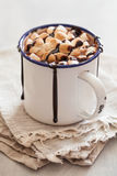 S`mores hot chocolate mini marshmallows cinnamon winter drink Stock Photography