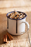 S`mores hot chocolate mini marshmallows cinnamon winter drink Royalty Free Stock Photo