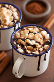 S`mores hot chocolate mini marshmallows cinnamon winter drink Stock Images