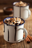 S`mores hot chocolate mini marshmallows cinnamon winter drink Stock Photos