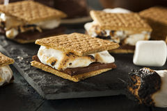 S'mores with Marshmallows Chocolate and Graham Crackers Stock Photos