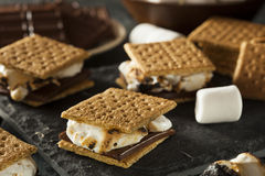 S'mores with Marshmallows Chocolate and Graham Crackers Stock Photo