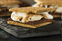 S'mores with Marshmallows Chocolate and Graham Crackers Stock Image