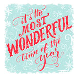 Itu0027s The Most Wonderful Time Of The Year. Vintage Greeting Card With  Handmade Typography And
