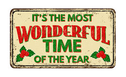 It`s the most wonderful time of the year, vintage rusty metal sign Royalty Free Stock Photography
