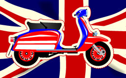 60s Motor Scooter Over Union Jack. A typical 1960 style motor scooter over a Union flag background Stock Photo