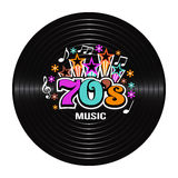 70s Music discography. Concept of old school music vector illustration