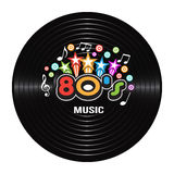 80s Music discography. 80s Music discography with stars Illustration Stock Image