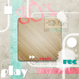 80s music. Retro music background with wall texture and wooden frame Stock Photos
