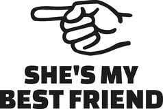 She`s my best friend. With finger left Royalty Free Stock Image