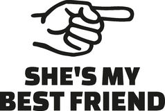 She`s my best friend. With finger right Stock Photo