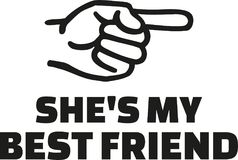She`s my best friend with finger right. Vector Royalty Free Stock Image