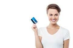 It's my new cash card !. Attractive woman showing her credit card Royalty Free Stock Photo