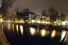 's nachts Amsterdam royalty-vrije stock foto