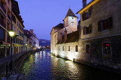 's nachts Annecy Stock Foto's