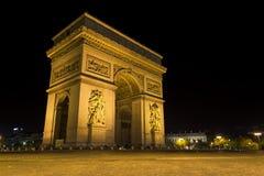 's nachts Arc de Triomphe Stock Fotografie