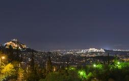 's nachts Athene Stock Foto