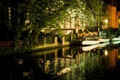 's nachts Brugge Stock Afbeeldingen