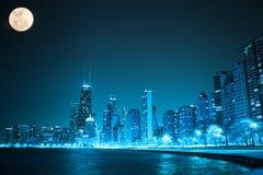 's nachts Chicago stock afbeelding