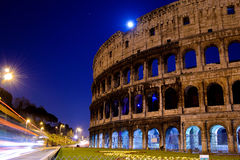 's nachts Colosseum Stock Foto
