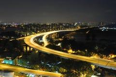 's nachts de Kust van het Oosten van Singapore royalty-vrije stock foto