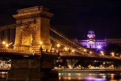 's nachts de Stad van Boedapest Stock Afbeelding