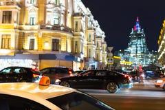 's nachts de taxi van Moskou Royalty-vrije Stock Afbeeldingen