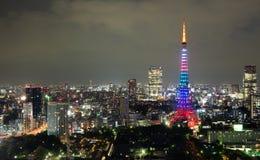 's nachts de toren van Tokyo stock foto
