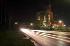 's nachts fabriek Stock Fotografie