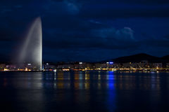 's nachts Genève Royalty-vrije Stock Foto's