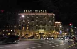 's nachts Genève zwitserland Royalty-vrije Stock Foto's