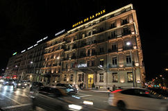 's nachts Genève zwitserland Royalty-vrije Stock Afbeelding