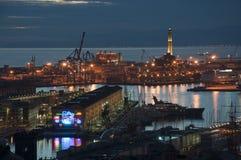 's nachts Genua stock afbeeldingen