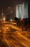 's nachts het centrum van Tel Aviv Royalty-vrije Stock Foto