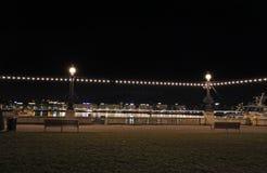 's nachts het meer van Genève zwitserland Stock Afbeelding